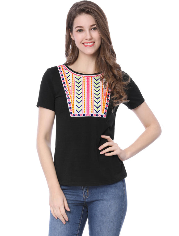 Women's Short Sleeves Geometric Boho Embroidery T-Shirt Black