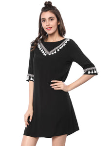 Women Half Sleeve Ethnic Embellished A Line Tassels Dress Black