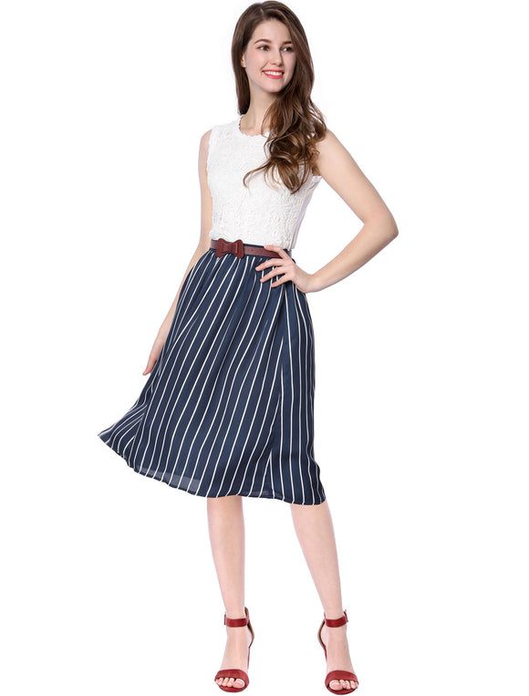 Women Elastic Waistband A-line Striped Chiffon Skirt with Belt Blue