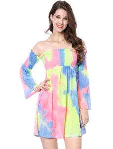 Women Off Shoulder Trumpet Sleeves Smocked Tie Dye Dress Multi-Color
