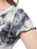 Women Ribbed Knitted A Line Lettuce-Edge Tie Dye Dress Gray