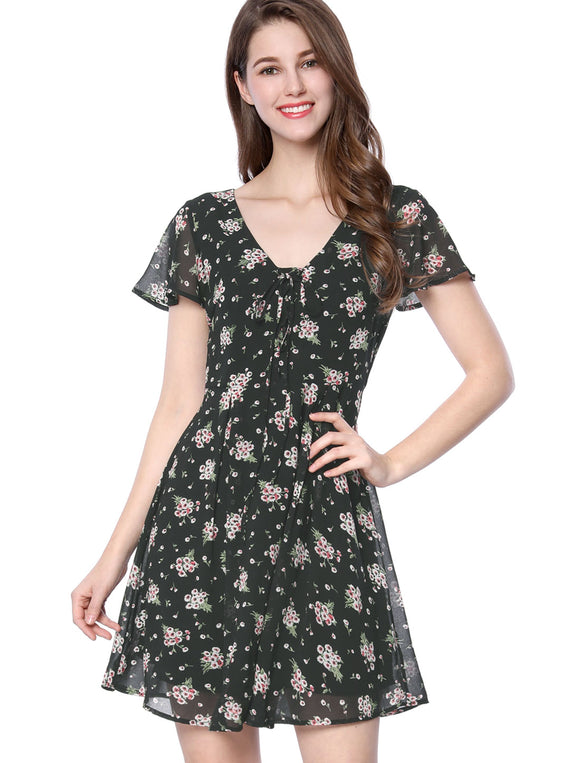 Women Floral Lace-up V-neck Flouncing Sleeve Chiffon A-line Dress Black