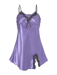 Women Satin Lace Trim Sleepwear Nightgown Pajama Slip Dress Lavender-Lace