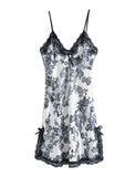 Women Satin Lace Trim Sleepwear Nightgown Pajama Slip Dress Floral-Lace