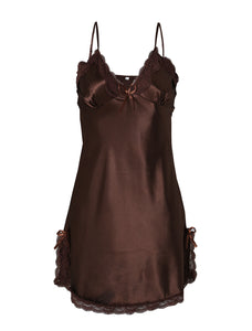 Women Satin Lace Trim Sleepwear Nightgown Pajama Slip Dress Coffee-Lace