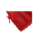 Women Satin Lace Trim Sleepwear Nightgown Pajama Slip Dress Red-Lace