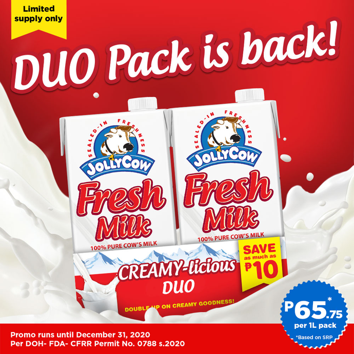 Jolly Cow Fresh Milk 1L Duo Pack Save P10