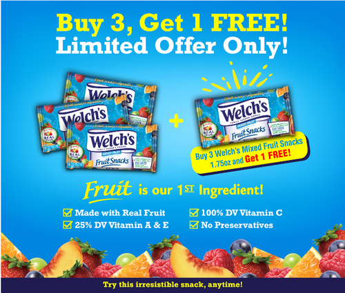 Buy 3 Get 1 FREE: Welch Fruit Snacks 1.75oz packs