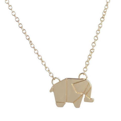 Fashion Necklaces Origami Elephant Geometric Necklace Woodland Elephant Animal Jewelry