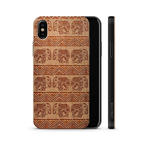 Wood  - Aztec Lotus Elephant Phone Case