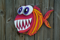 3D Angler Fish Wood Sign, Large Outdoor Wall Art Decor, Beach house sign, Pool Deck Decor-iDecor4you