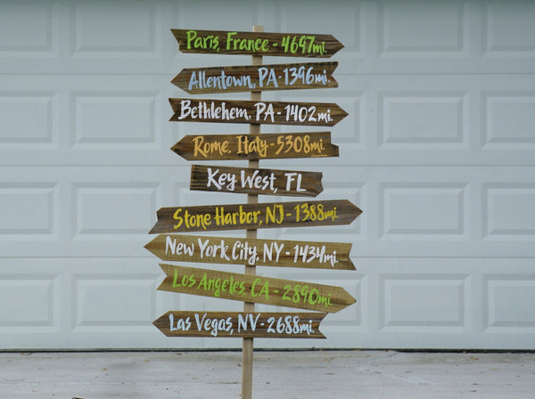 rustic directional sign wood