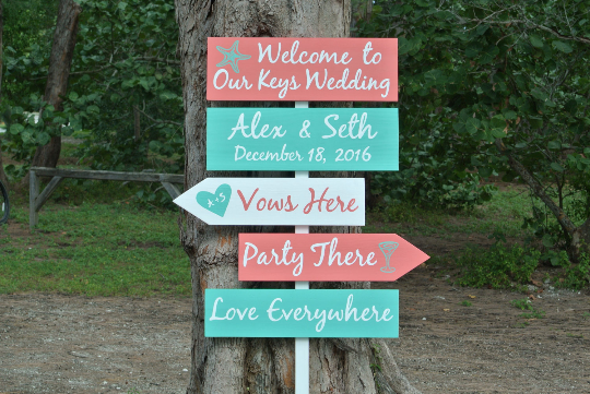 Beach Wedding Decor. Vows here Party there Love everywhere. Garden directional sign.-iDecor4you