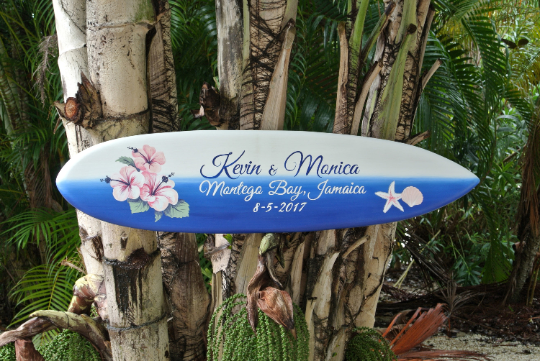 Beach Wedding Surfboard Wood Sign, Tropical Jamaica Wedding Sign, Sea Star Surfboard Sign, Hibiscus Surboard Weddign Sign-iDecor4you