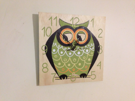 Birthday gift idea. OWL Clock, FUN and Colorful Kids Clock, Custom Wood Wall Clock-iDecor4you