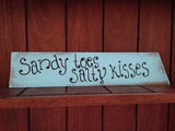 Custom Wedding Beach Sign, Sandy Toes Salty Kisses Sign, Rustic Wedding Gift-iDecor4you