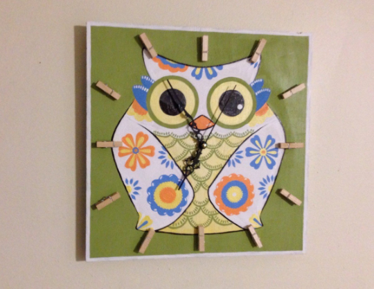Decorative Fun and Colorful OWL clock, Hand painted wall clock, Kids Birthday gift idea-iDecor4you