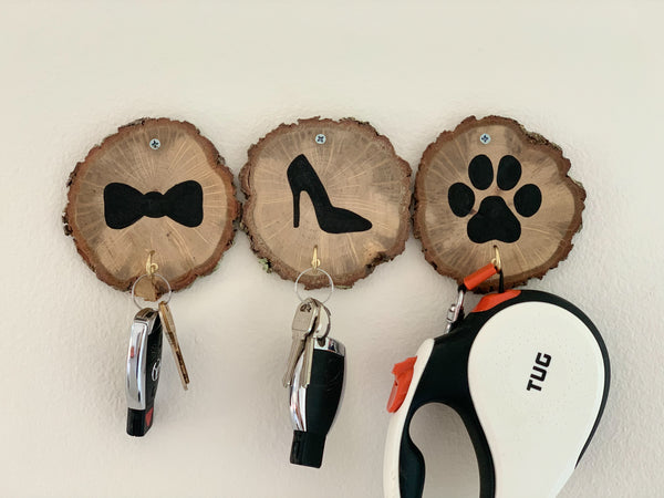 wall key holder for dog lovers wood