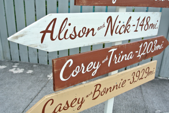 Event sign. UNIQUE gift for family wood directional sign. Rustic Destination mileage signage. Mother's Day/Housewarming gift.-iDecor4you
