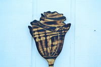 Hand Carved Wood Flower Sign, Rose Wall Decoration Art, Housewarming new house gift.-iDecor4you