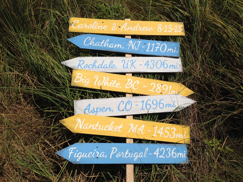 Gift for parents, Beach House Decor, Custom Directional Yard wood Sign, Rustic Destination wooden Sign, New house gift, Wood yard decor
