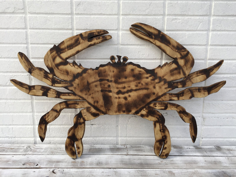 Crab decor gift for him. Wall art wood crab cut out. Beach house decor outdoor.  gift idea
