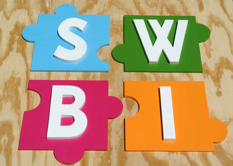 Business 3D puzzle wood sign, Custom company name Kindergarten signage, personalized logo outdoor sign