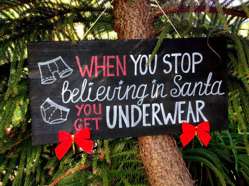 Funny Christmas sign. When you stop believing in Santa wood holiday decor. Unique Holiday gift idea