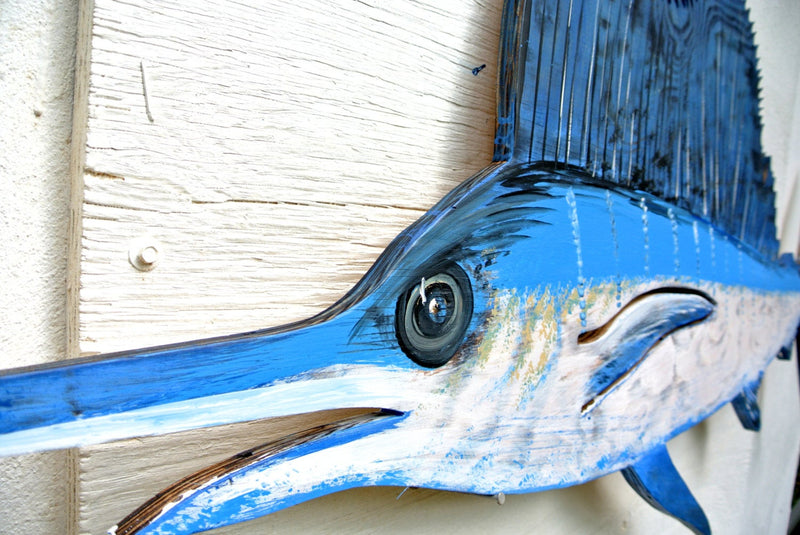 Gift for dad. Man cave decoration sign. Large Sailfish Blue Marlin Wooden decor. Blue Marlin wood fish wall art. Fisherman Gift.