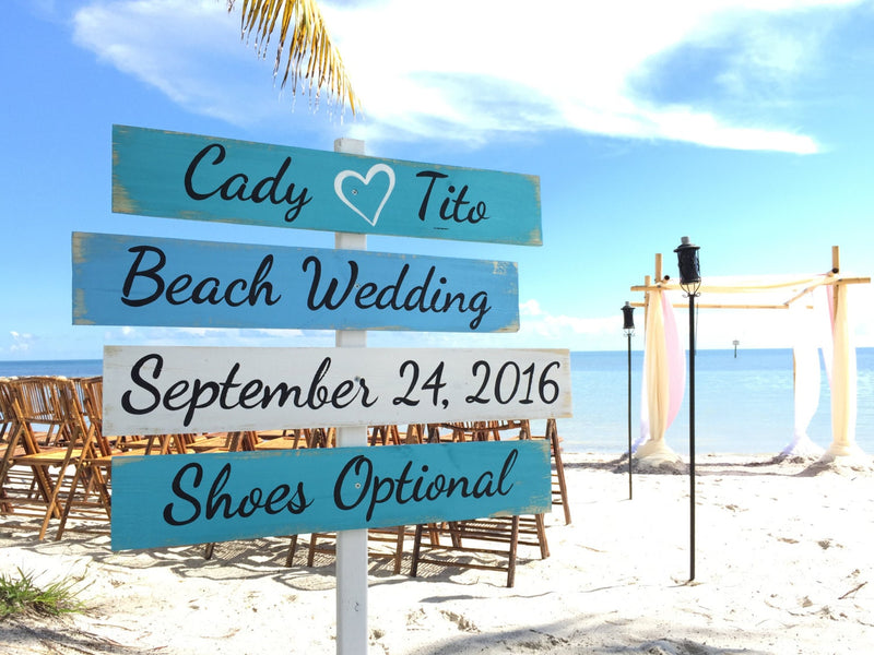 Newlywed Gift Wedding Decor Beach Sign, Wood Nautical Directional Signs, Shoes Optional, Personalized Signage for wedding, Wedding gift