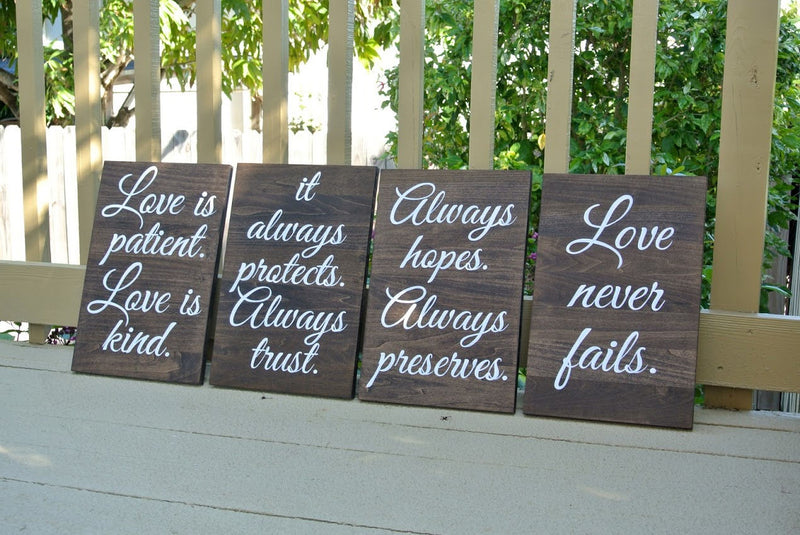Wood Wedding aisle signs, Rustic Wooden Decor Wedding Ceremony, Love is Patient Love is Kind, Christian Wedding gift.