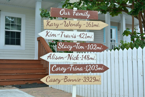 Our Family wood direction sign. Holiday Gift. Destination mileage signage. Housewarming gift idea