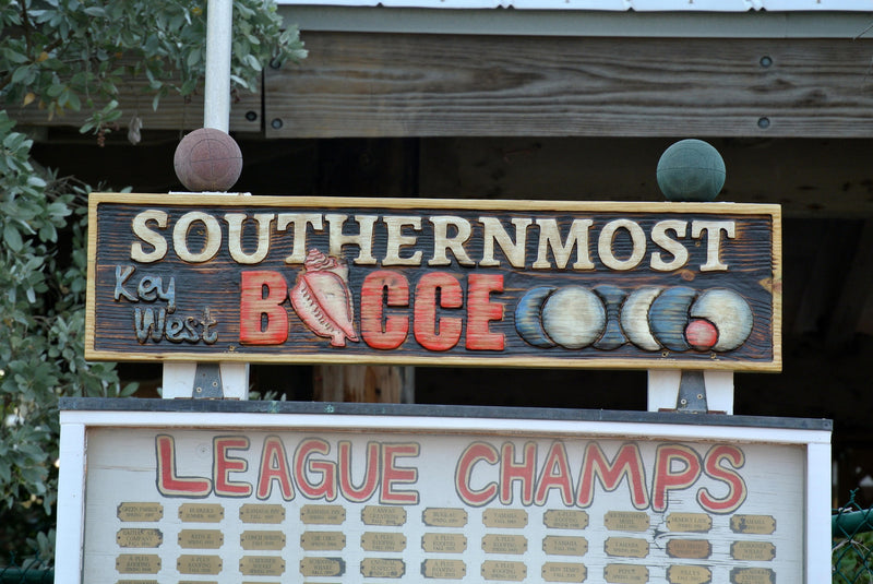 Carved Business Sign. Bocce Game Sign. Company Outdoor Business Logo Sign.
