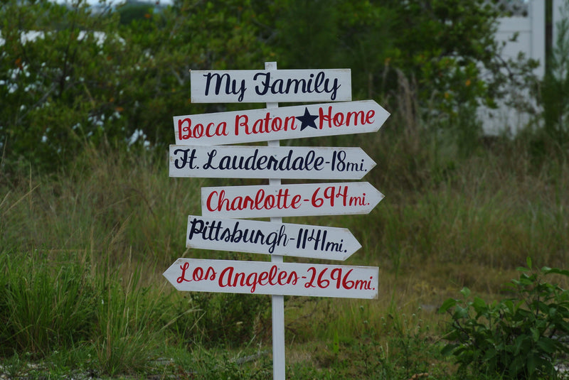 My family wood direction sign for back yard decor. Gift for parents