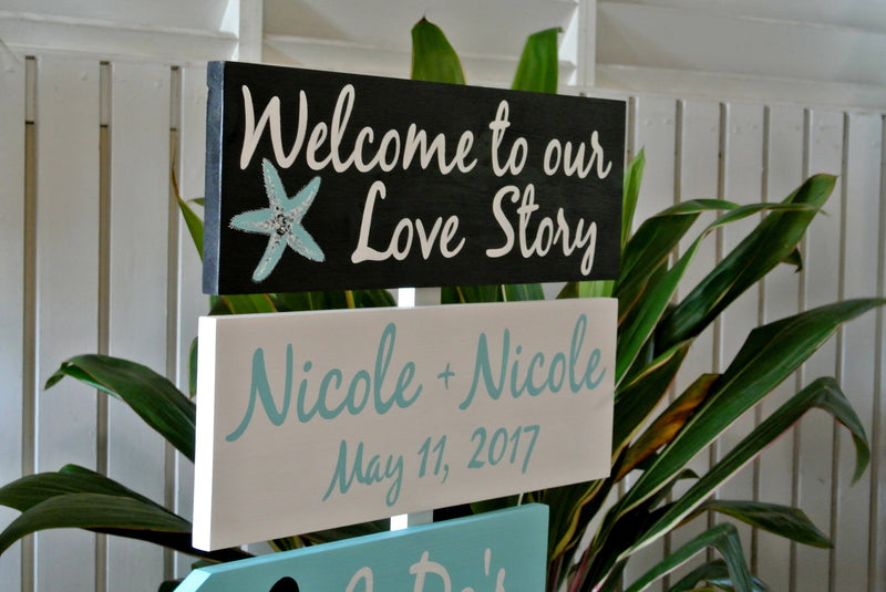 Nautical Welcome Wedding Sign, Welcome to our Love Story Signage, I Do&