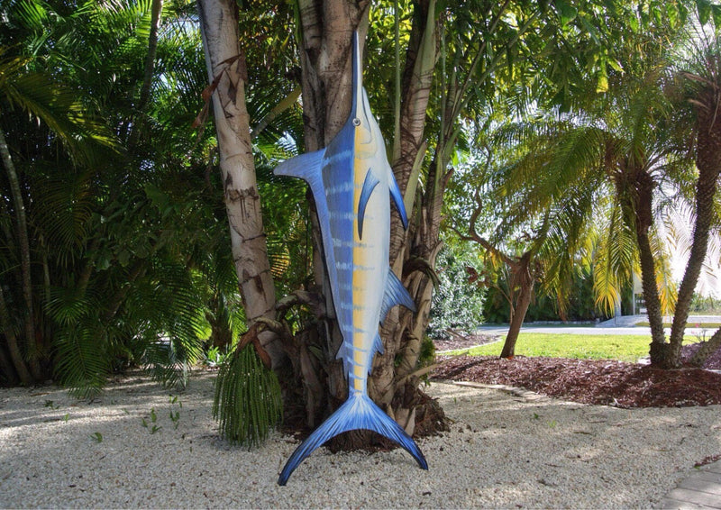 Fisherman Gift for men Blue Marlin Wall Art, Large Wood Fish decor wood.