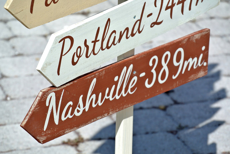 Holiday gift idea. Rustic Directional sign. Gift for parents. Destination Yard Arrow wood sign. Housewarming party decor. New house gift