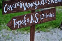 Family gift, Rustic Directional Sign, Mileage Destination Sign post. Garden Decor, Family Gift Idea, Couples gift.