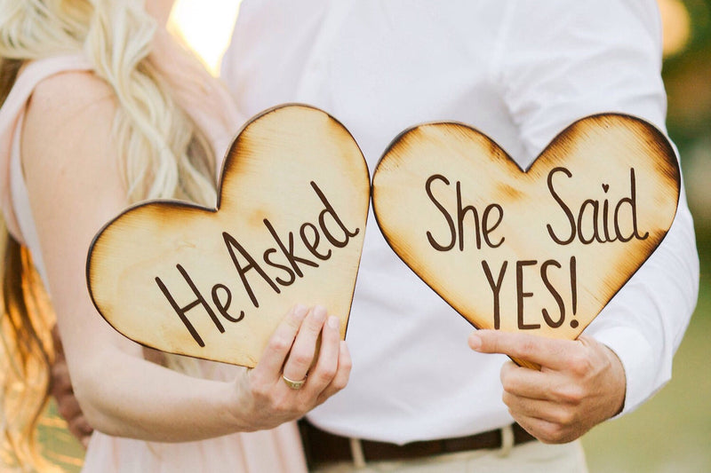 Wooden proposal signs ideas. He asked - She said yes engagement hearts. Gift for couple