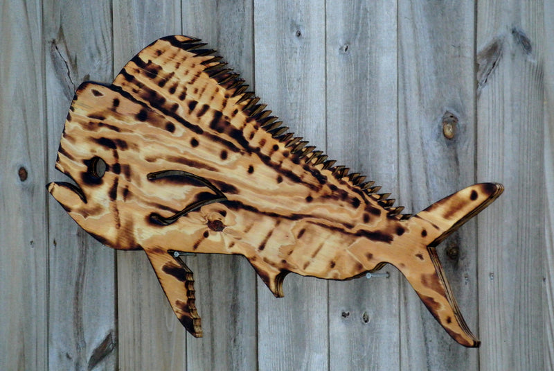 Dolphin Mahi Fish Wall Decor Gift for Dad. Tiki Bar Wood Sign, Man Cave Patio Beach house hanging wood decorative fish