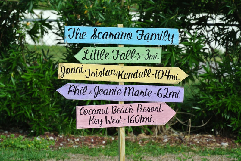 Holiday gift idea, Rustic Family Name Directional Destination Wood Sign, Father&