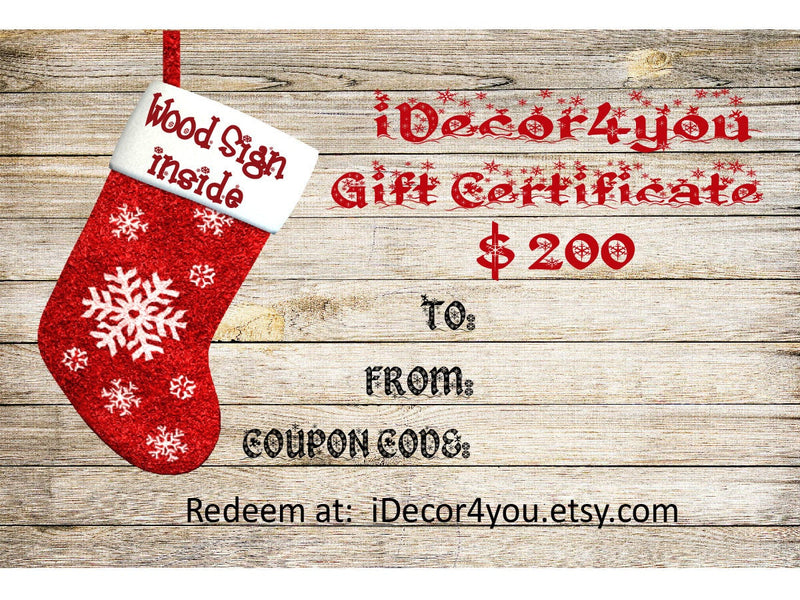 iDecor4you  Family Gift Certificate for Custom Wood Sign. Gifts Card for Her, for Co-Workers from iDecor4you. Last minute gift
