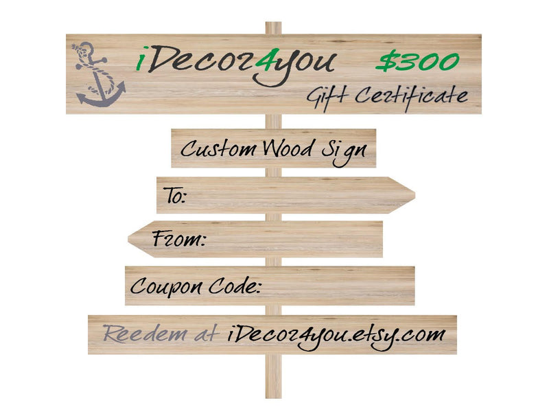 iDecor4you Custom Wood Sign Gift Certificate. Printable Holiday Gifts Card for Dad, Gifts for Co-Workers, Easy Holiday Cards