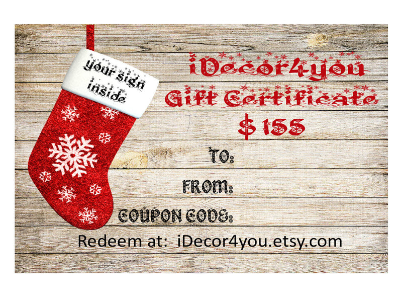 Gift card for iDecor4you shop  Last Minute Gift Certificate for Custom Wood Sign. Digital  Gifts Card for Her, Gifts for Co-Workers