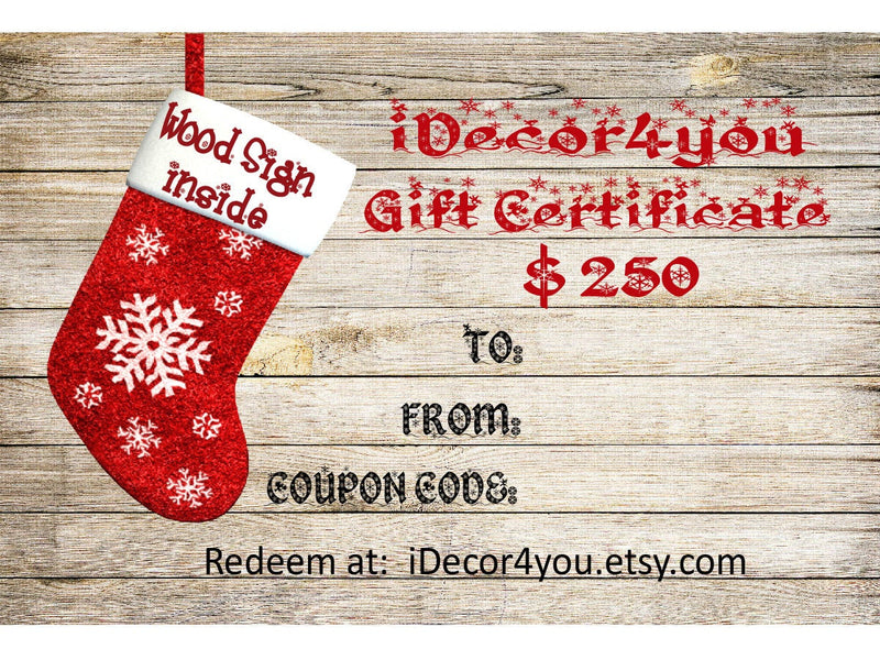 iDecor4you Last Minute Gift Certificate for Custom Wood Sign. Card for Her, Gifts for Co-Workers, Easy  Cards Printable