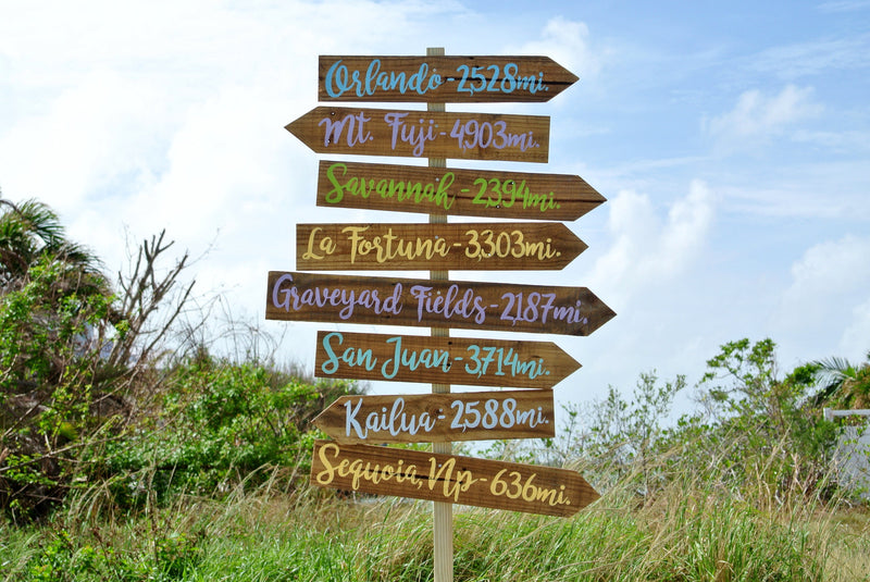 Rustic Directional Sign. Destination sign post Garden decor