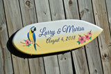 Newlywed Gift Beach Wedding Sign. Parrot Wedding Wood Gift for Couple. Surfboard Decor