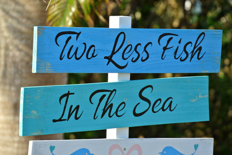 Welcome wedding sign. Two Less Fish In The Sea. Tropical Wedding Decor. Gift for Couple. Wedding on the beach