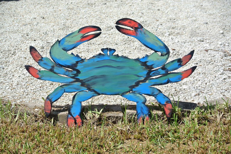 Blue Crab restaurant Decor. Rustic Wood Wall Art. Entryway sign.