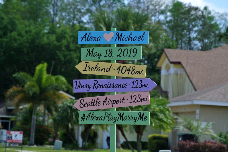 Wedding Family directional Yard sign. Wood Direction Mileage Garden Decoration. Rustic Destination signpost. Yard decoration sign